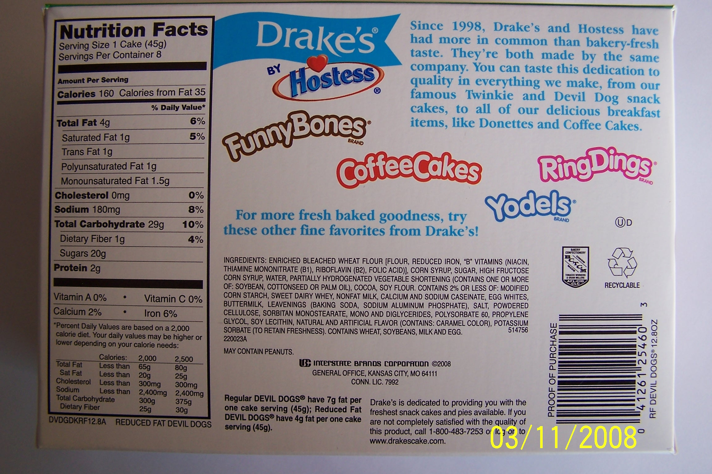 Drakes Coffee Cake Nutrition Information